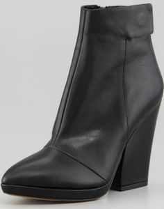 Vince Luisa Black Leather Ankle Boot